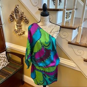 Laundry one shoulder colorful mini dress